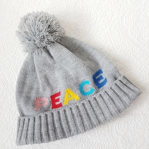 Kids Gap Toque Winter Hat Rainbow Peace Pom Pom